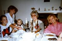 The family, daughter with her children on the left, Věra in the middle, the daughter's mother-in-law on the right, Prague, later 1970s