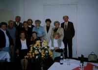 Class reunion of the Vienna Czech school in Prague, Věra in the middle wearing a blue sweater, 1999