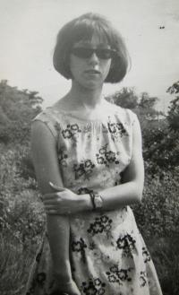 Witness wearing a dress made by her mum; unlocated, photo taken on 11th June, 1966