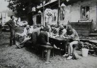 Celebrating with Liběš´newlyweds, friends and climbers; Jan Frolík with glasses; in Humpolec region around 1987