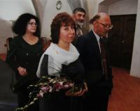 Second wedding with Jan Frolik; Irena Gerová and Jan Böhm as witnesses; in Prague at  - Novoměstská townhall on 14th October, 1999