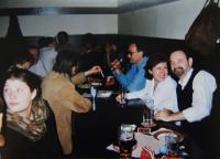 Celebration of the witness´50th birthday with a large society, the witness the second on right; in Prague in 1999
