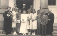 Hana second left, Church confirmation, Benešov, 1949