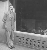 Brother of Natalie in front of his shop /during Protectorate/