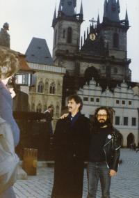 Karel Havelka and Frank Zappa, Prague, January 1990