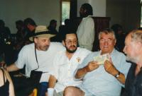 From left: John Bok, Karel Havelka, Pavel Landovský, 2000, Havelkas´ 50th birthday
