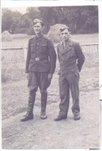 With his brother Břetislav (František Beneš on the right)