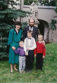 Vlastimil Bartos with his wife Mary and sons Paul, Vaclav and Adam in 1995