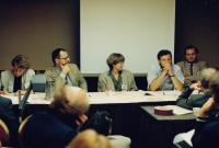 Václav Mezřický (on the left) at the Berkeley University during a lecture, 1989/1990