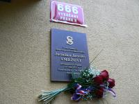 Memorial plaque in memory of Mr. and Ms. Smrž