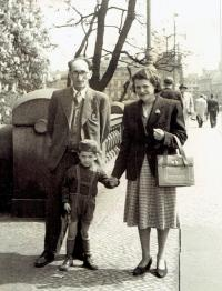The Bukovský family taking a walk, Prague about 1953
