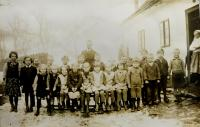 Municipal school in Nýznerov during war. Vilma Hadwigerová seated fourth from right