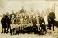 Municipal school in Nýznerov during war. Vilma Hadwigerová seated second from right.