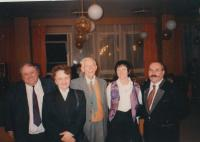 Otto Wichterle in the middle, Blanka Brůnová second from left