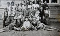 Pupils of the Czech elementary school in the village Bohdan in Carpathian Ruthenia. Jaroslav Palka 2nd from right, front row.