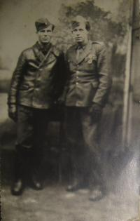 Vojtěch Cimbolinec in the army (on the left)