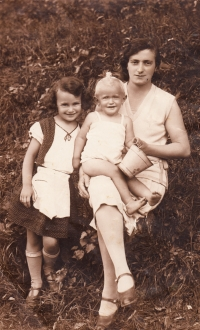 With mother and sister, Mariana, 1931