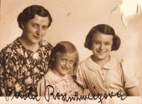 With mother and sister, Mariana, 1939, passport photograph