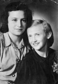 With sister, Mariana, 1941, Ostrava