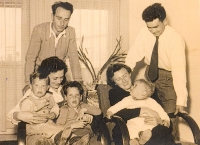With sons and sister--Israel, 1953