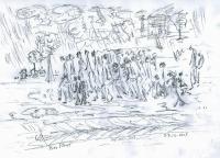 March of death, drawing Naftali Fürst