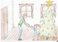 Illustration to the story of Věra Čechová - Mother comes home from Svatobořice on Christmas Eve
