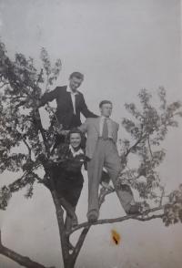Right František Motyčka with friends