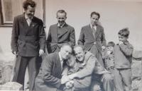 František Motyčka with friends in Lanškorouně