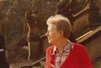 Josefa Bořek - Dohalská, mother od Antonin Bořek - Dohalský, cca 1980 in the garden of palace, Lysá nad Labem