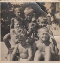 With cousins Svoboda's, up- Vaclav and Jiri Dohalsky, down - Zdenek and Antonin Dohalsky