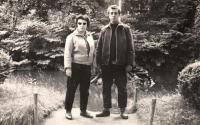 The witness with her husband walking in the mountains, 1965