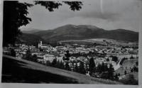Postcard of Bánská Bystrice, which Tomáš Ondruch sent from the army service to his future wide, Irena, in 1946