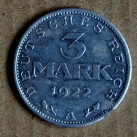 Three mark coin / a relic of Irena Ondruchová to protectorate /photo taken in 2017/