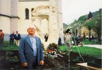 Josef Kovářík by the memorial to political prisoners in Jáchymov