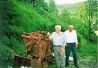 Josef Kovářík with the excavator in fron of the uranic mine in Jáchymovsko