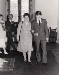 wedding of son Karel, Karlštejn, 80s