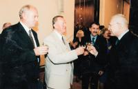 1995, meeting with V. Klaus, giving a municipal emblem and a battalion