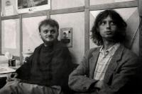 Zleva Marek Stoniš a Ivo Mludek v redakci deníku Region / 1991