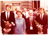 with wife and sons Tomas and Stepan, end of 80s