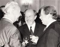 In 1989 with V. Havel and A. Dubcek after the election of Václav Havel a president