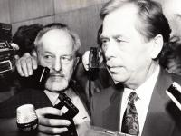In 1989 with V. Havel after his election as the Czech president