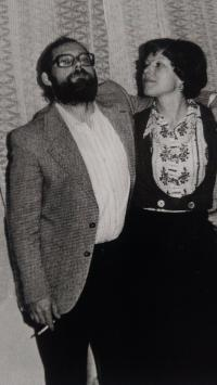 At a party with his wife, Aš 1978