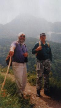 Joža Borsik (left) hiking down from the Belianske Tatras, 1995