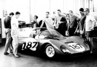 Visit at Ferrari factory during competition in Italy in 1965