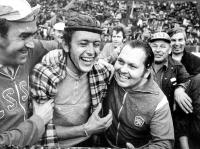 Celebration of a victory after competition Preteky mieru in 1972