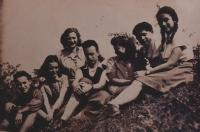 Summer camp Maccabi Hatzair, Miriam (Mia) is third from the right,  Škrdlovice, summer 1947