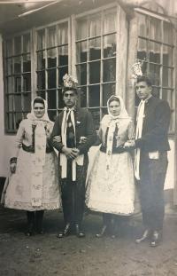 Bohuš (left) in the local Moravian costume, Hrušky 1949