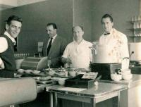 Bohuš (left) working in catering, Melbourne 1958