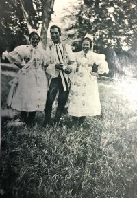 Bohuš in the local Moravian costume, Hrušky 1949