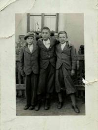 Bohuš in the middle, his friend Franta Smouček on the left, his cousin Břetislav Doležal on the right, Hrušky 1938